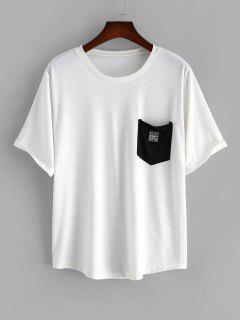 Colorblock Pocket Patched Short Sleeve T-shirt - White 2xl