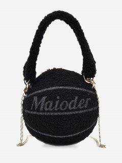Fleece Basketball Shape Letter Print Double Handle Strap Chain Bag - Black