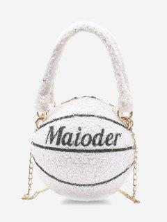 Fleece Basketball Shape Letter Print Double Handle Strap Chain Bag - Milk White