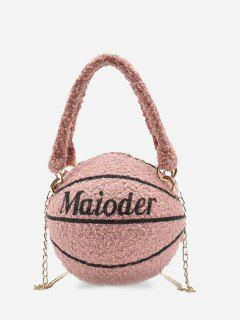 Fleece Basketball Shape Letter Print Double Handle Strap Chain Bag - Pink