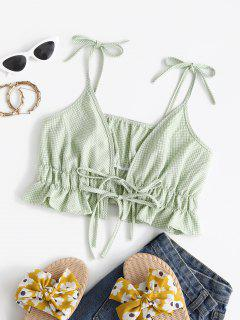 Spaghetti Strap Tie Gingham Ruffled Hem Crop Top - Green S