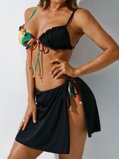 ZAFUL Ribbed Tie Dye Frilled Self-tie Three Piece Bikini Swimsuit - Black S