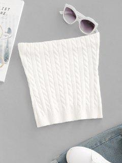 Cable Knit Crop Tube Top - White S