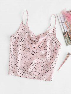 Cowl Neck Polka Dot Silky Satin Camisole - Light Pink M