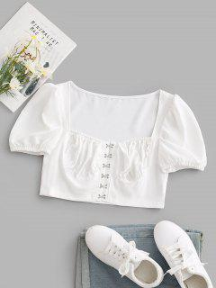Hook And Eye Puff Sleeve Cropped Bustier Top - White M