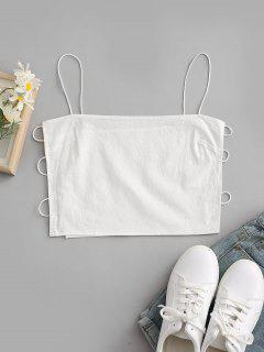 Bungee Strap Side Ladder Cutout Napkin Camisole - White S