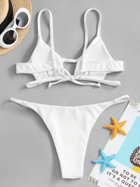 Bikini Acanalado con Recorte - Blanco S Mobile