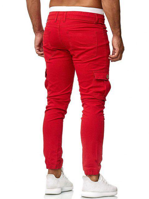 Pantalones Trotar Plisados Cordón Ajustable - Rojo L Mobile