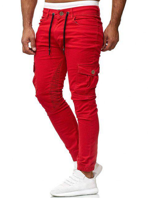 Pantalones Trotar Plisados Cordón Ajustable - Rojo XL Mobile