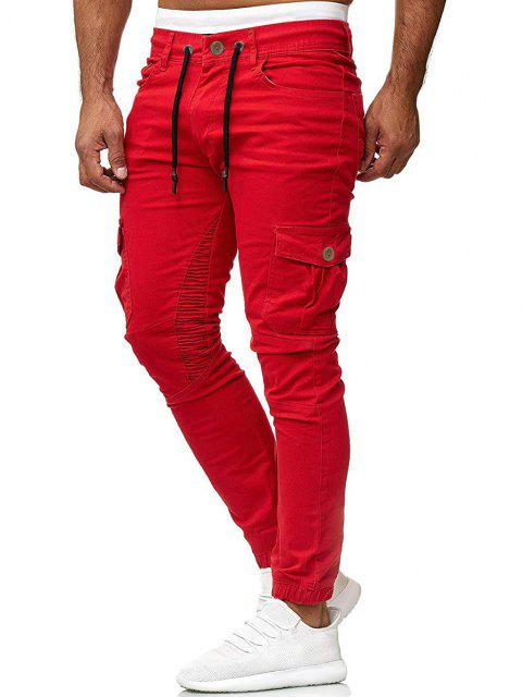 Pantalones Trotar Plisados Cordón Ajustable - Rojo 3XL Mobile