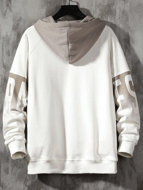 lady Colorblock Letter Print Drop Shoulder Hoodie - WHITE S Mobile