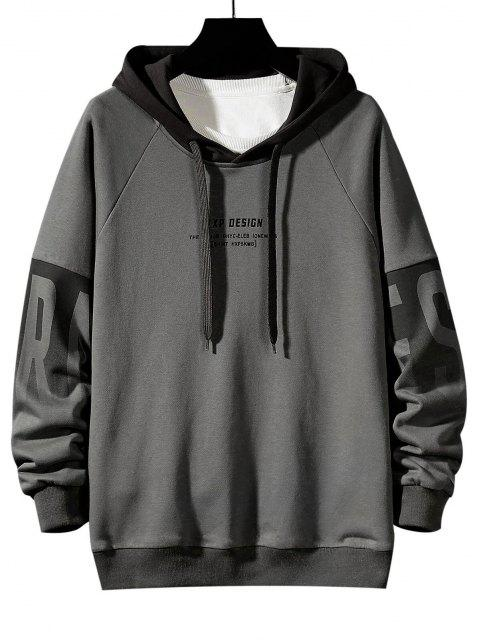 shop Colorblock Letter Print Drop Shoulder Hoodie - DARK GRAY XS Mobile