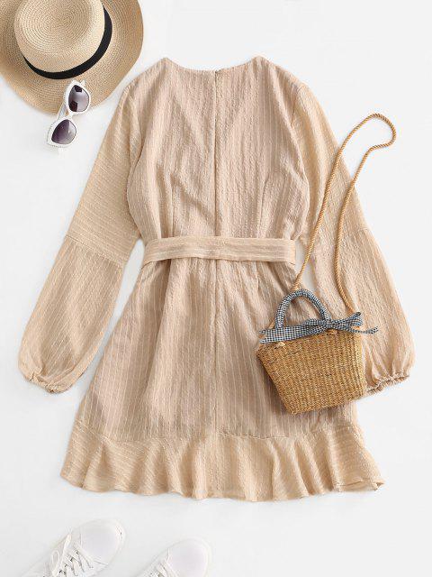 women Ruffled Long Sleeve Belted Surplice Dress - LIGHT COFFEE M Mobile