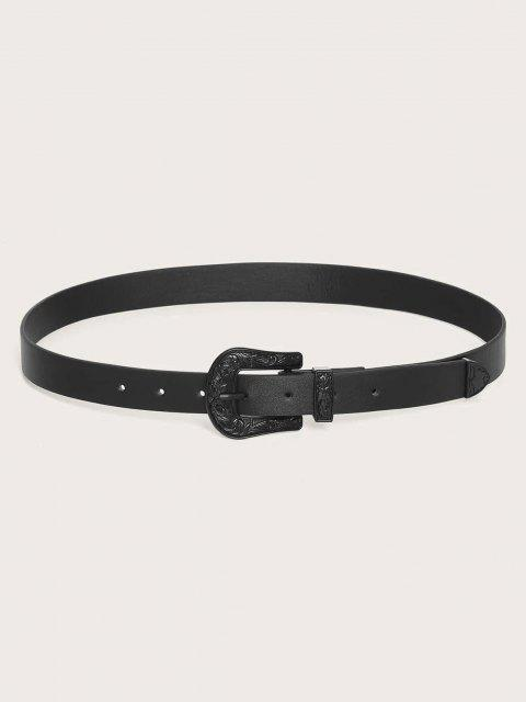 trendy Retro Floral Engraved Solid Buckle Belt - BLACK  Mobile