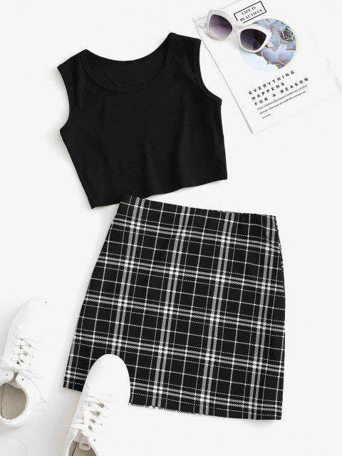 fashion Checked Sleeveless Crop Two Piece Suit - MULTI XL Mobile