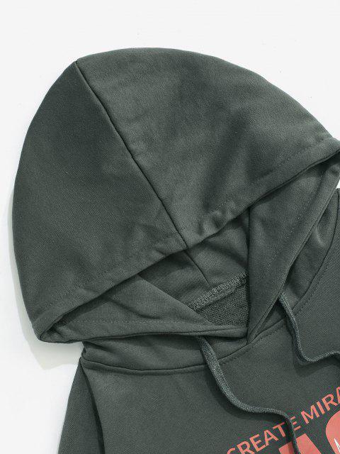 Magierbriefdruck Drop Schulter Hoodie - Dunkelgrau XL Mobile