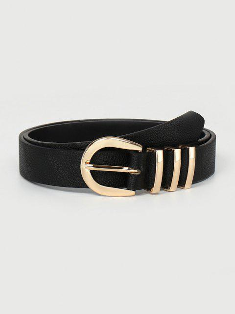 womens Brief Textured Pin Buckle Belt - BLACK  Mobile