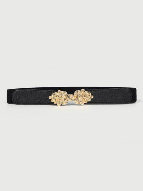 women's Golden Flower Decorative Elastic Waist Belt - BLACK  Mobile