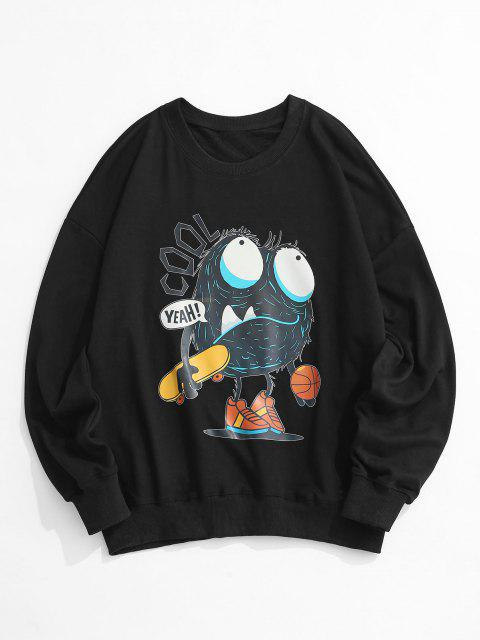 womens Cartoon Letter Print Drop Shoulder Sweatshirt - BLACK S Mobile