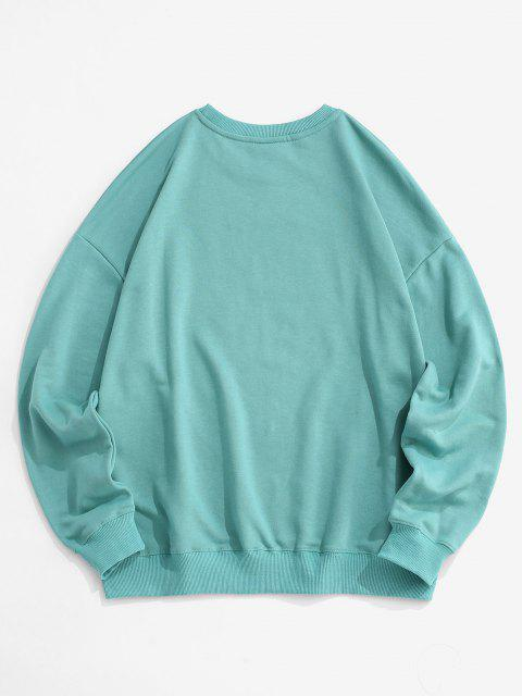 online Cartoon Letter Print Drop Shoulder Sweatshirt - BLUE M Mobile