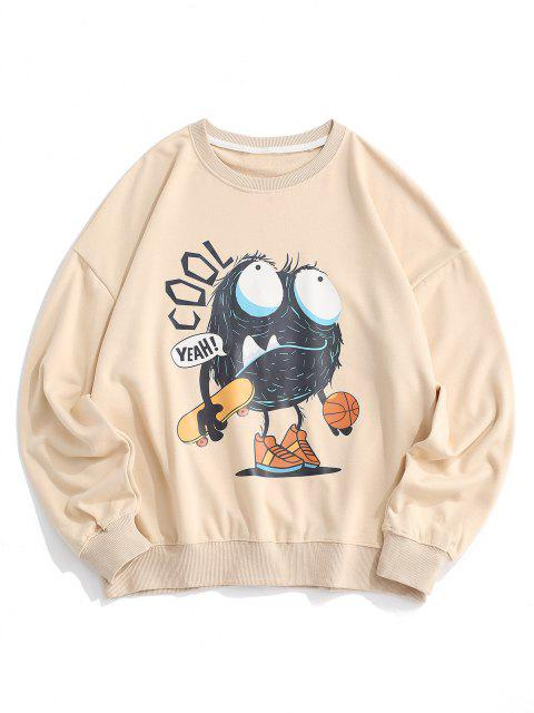 shops Cartoon Letter Print Drop Shoulder Sweatshirt - LIGHT KHAKI XL Mobile