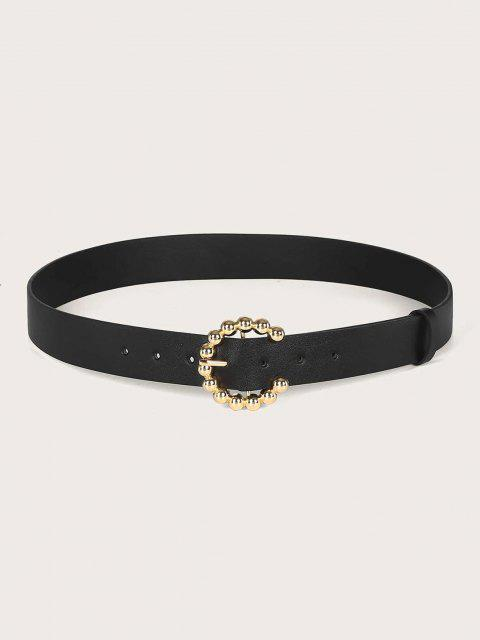 online Solid Metallic Round Ball Embellished C-Shape Buckle Belt - BLACK  Mobile