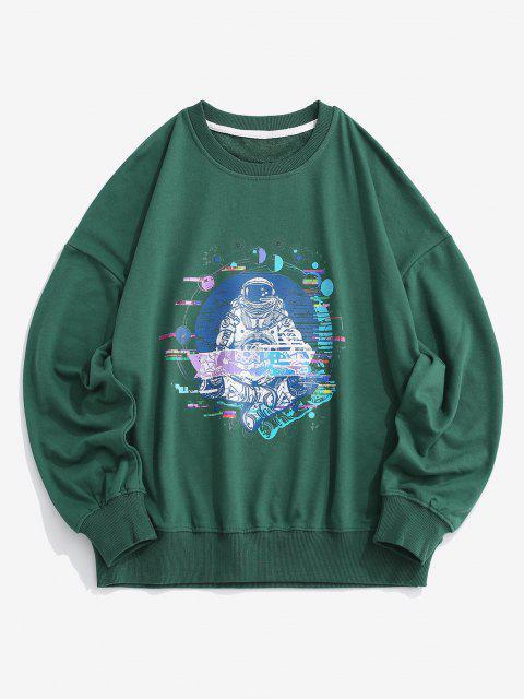 ladies Planet Astronaut Graphic Drop Shoulder Sweatshirt - GREEN 2XL Mobile