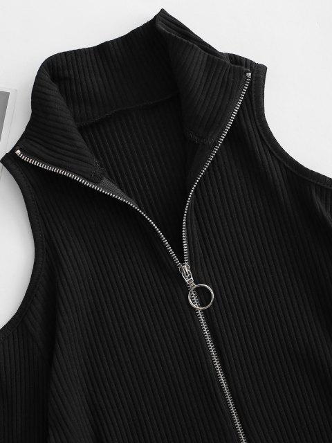 best Ribbed Half Zip Snap Crotch Cold Shoulder Bodysuit - BLACK S Mobile