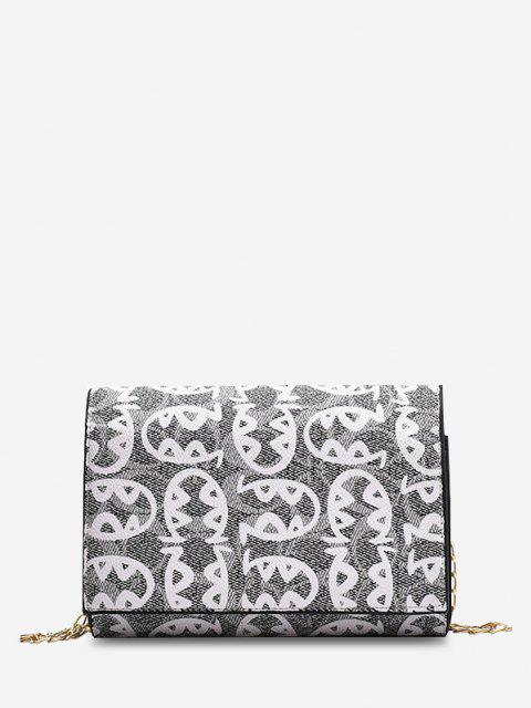 Allover Fish Pattern Flap Chain Mini Crossbody Bag - أسود  Mobile