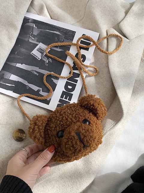 クマの形のふわふわクロスボディバッグ - 褐色  Mobile