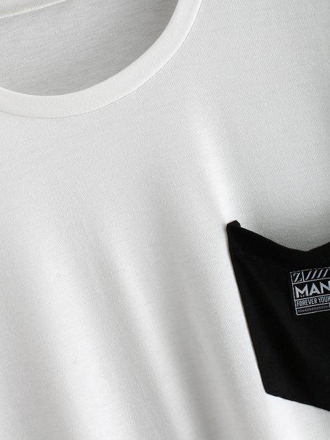 T-Shirt a Blocchi di Colore con Tasca e Maniche Corte - Bianca 2XL Mobile
