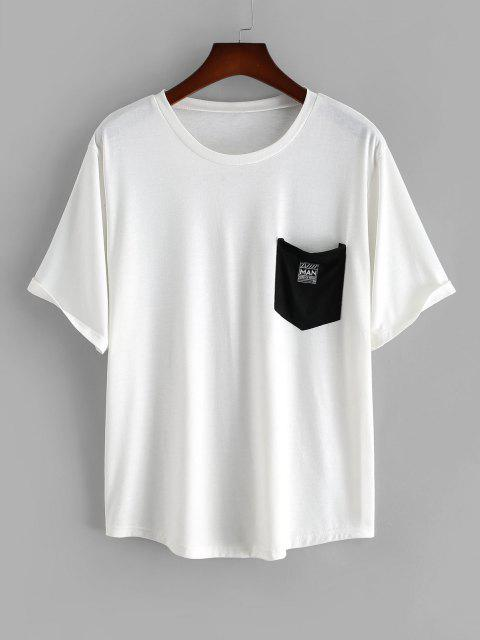 Colorblock Pocket Patched Short Sleeve T-shirt - أبيض 2XL Mobile