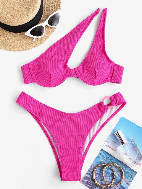 latest ZAFUL Cut Out One Shoulder Underwire Bikini Swimwear - LIGHT PINK M Mobile