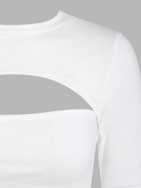 Top Barriga de Fora de Nó em Laço Cortado - Branco M Mobile