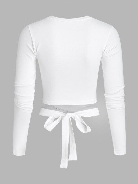 shops Cutout Tie Around Crop Top - WHITE S Mobile