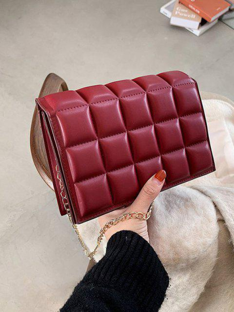 chic Soft Chocolate-Quilted Flap Solid Chain Crossbody Bag - LAVA RED  Mobile