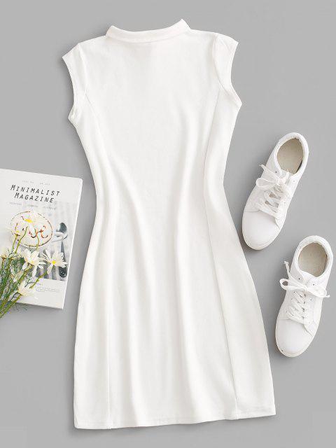 women V-notch Cap Sleeve Sheath Jersey Dress - WHITE M Mobile
