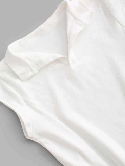 V Kerbe Deckel Ärmel Mantel Jersey Kleid - Weiß L Mobile
