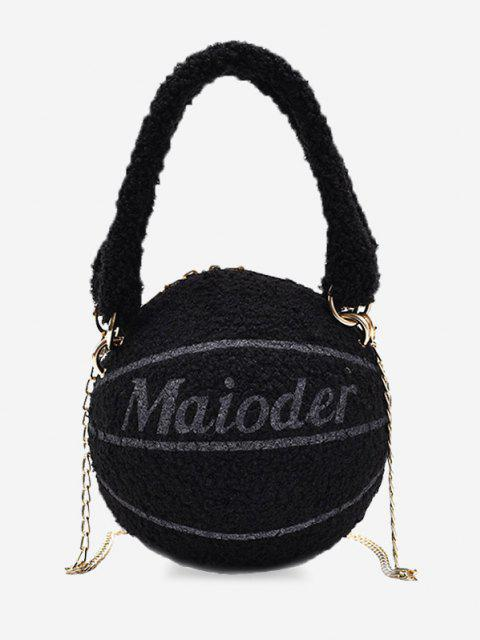 latest Fleece Basketball Shape Letter Print Double Handle Strap Chain Bag - BLACK  Mobile