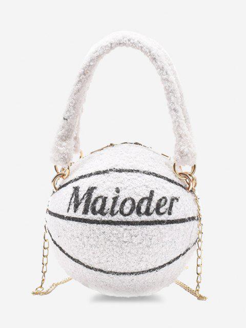 trendy Fleece Basketball Shape Letter Print Double Handle Strap Chain Bag - MILK WHITE  Mobile