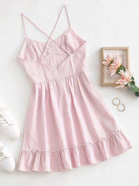 chic Spaghetti Strap Flounce Ruched Bust Gingham Sundress - LIGHT PINK S Mobile