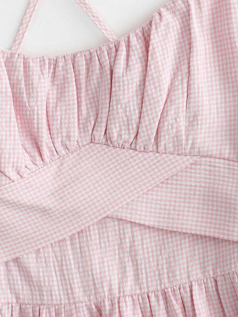 Spaghettibügel Volant Geraffte Frauen Sommerkleid - Hell-Pink M Mobile