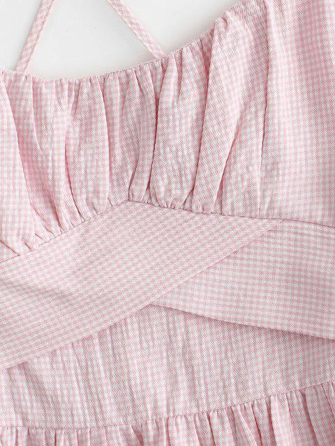 fashion Spaghetti Strap Flounce Ruched Bust Gingham Sundress - LIGHT PINK XL Mobile