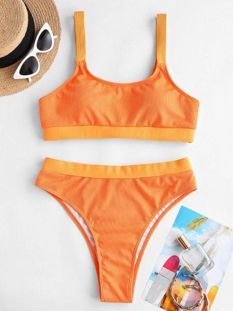 ZAFUL Bikini de Tanque Acanalado con Patchwork - Naranja M Mobile