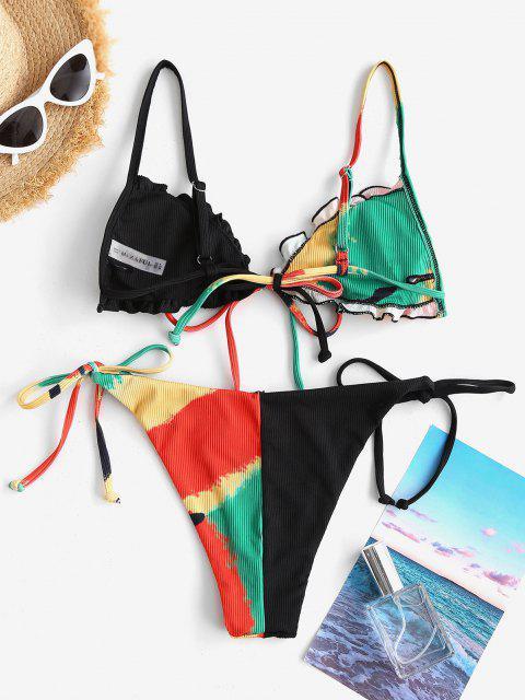 Costume da Bagno di Tie-Dye a Costine con Volant di ZAFUL - Nero S Mobile