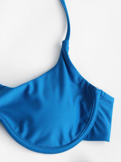 ZAFUL Costume da Bagno Bikini Incrociato e Surplice a Taglio Alto - Blu S Mobile
