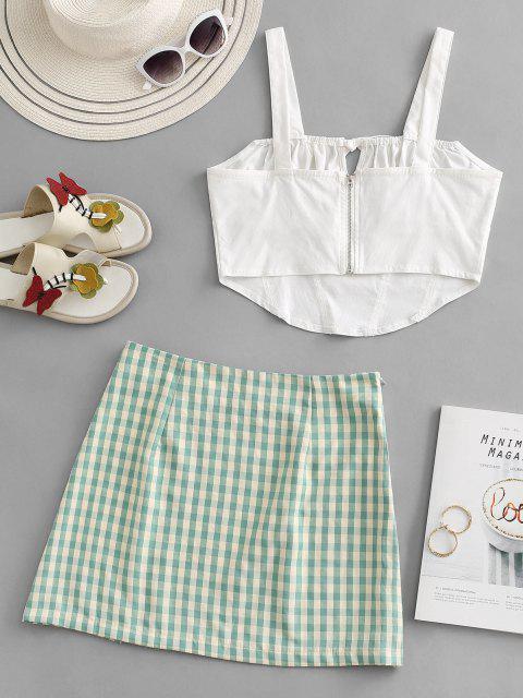 latest Tie Corset Top and Gingham Split Hem Skirt Set - GREEN L Mobile