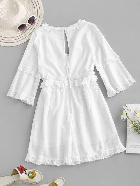 fancy Ruffles Cutout Back Dress - WHITE M Mobile