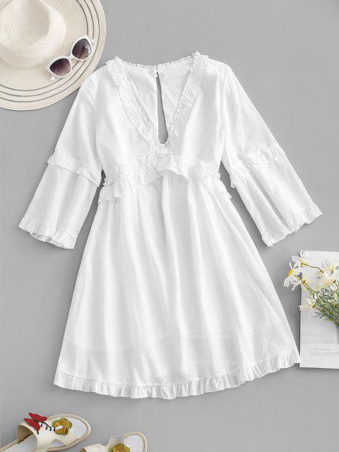 Rüschen Ausschnitt Rückseite Kleid - Weiß M Mobile
