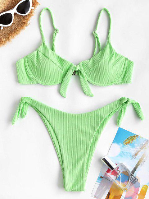 ZAFUL Costume da Bagno Bikini a Costine Tanga ZAFUL - Verde S Mobile